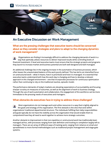 An Executive Discussion on Work Management
